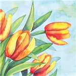 Tulips Watercolor Linens