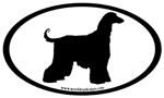 Afghan Hound Dog Breed Oval Stickers