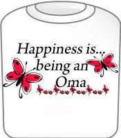 Happiness is being a Oma Butterfly Design T-Shirt