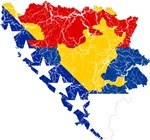 Bosnia And Herzegovina Subdivisions Flag And Map