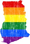 Ghana Rainbow Pride Flag And Map