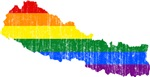 Nepal Rainbow Pride Flag And Map