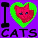 I Love Cats Violet & Lime