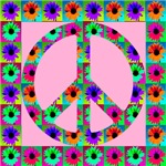 Peace Symbol Blackeyed Susans on Pink Rose