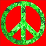 Shamrock Peace Symbol on Red