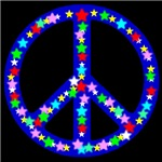 Peace Symbol Blue Stars on Midnight Black