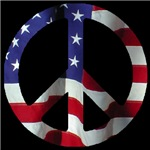 Peace Symbol American Flag on Midnight Black