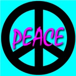 Peace Symbol Child's Script Skyblue