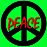 Peace Symbol Child's Script Green