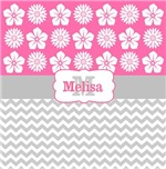 Pink bloom gray chevron personalized
