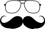 glasses on mustache