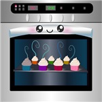 Cute Happy Oven with cupcakes
