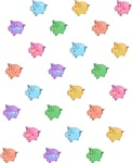 Rainbow Pig Pattern