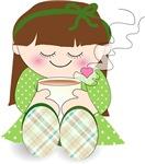 Cute cartoon girl with coffee / tea