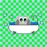 Owl In Tub (Green Checks)