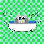 Owl In Tub (Green Checks)