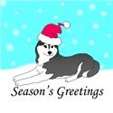 Black Siberian Husky Santa