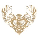 Poodle Tan Winged Heart