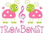 Trombone Music Pink Ladybug T-shirts