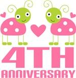 4th Anniversary Gift Pink Ladybug T-shirt