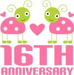 16th Anniversary Pink Ladybug T-shirts