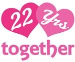 22nd Anniversary Hearts Gift T-shirts