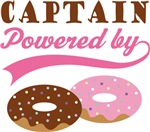 Captain Powered By Doughnuts Gift T-shirts