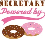 Secretary Powered By Doughnuts Gift T-shirts