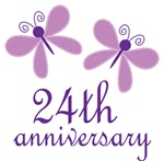24th Anniversary Gift Purple Butterfly