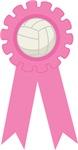 Volleyball Pink Award Ribbon Tee Shirts and Gifts