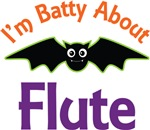 Batty About Flute Funny Music Tees