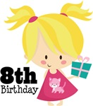 8th Birthday Girl Kids Tees