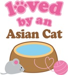 Loved By An Asian Cat Tshirt Gifts