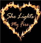 She Lights My Fire Couples Mens Funny Spice T-shir