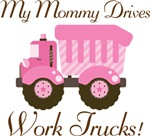Mommy Drives Work Trucks Pink Girls T-shirts