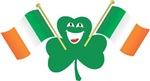 Shamrock waving Irish Flags