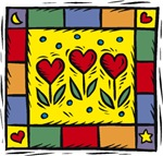 Quilt with Heart Flowers T-shirts & Gifts