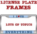 I Love Heart License Plate Frames