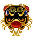 Black n Gold Chinese Dragon Face