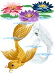 Gold and Silver Koi with Lilies
