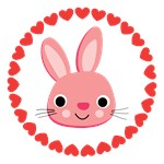 Cute Pink Bunny and Hearts Gifts