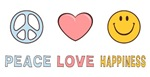 Peace Love and Happiness T-shirts ~ Peace love and happiness t-shirt and gift collection. All items decorated with a cute logo that features a heart, peace symbol and a smelly face. Cheerful anti-war merchandise. Makes a great gift.