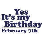 February 7th Birthday T-Shirts & Gifts