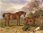 Vintage Painting of Horses on the Farm