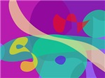 Bright Happy Abstract Purple and Green