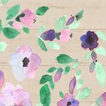 Green Pink Purple Watercolor Floral