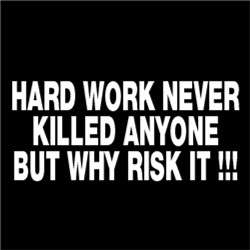 HARD WORK NEVER KILLED ANYONE BUT WHY RISK IT!