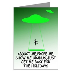 Rude holidays cards with a rude alien slogan