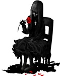 Goth girl with red rose products