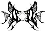 martini glass warp into an angel fish art design